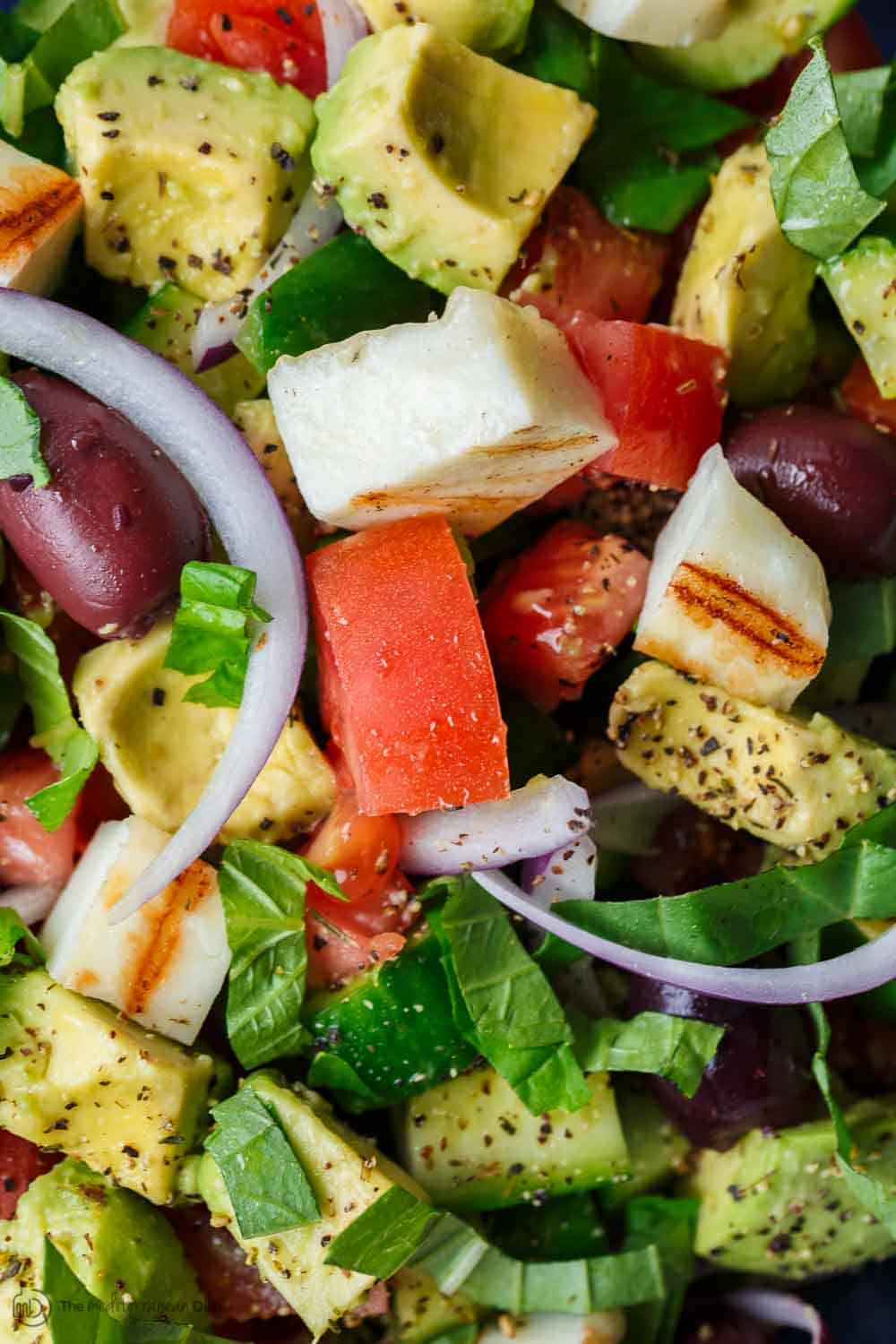 Simple Mediterranean Avocado Salad With Halloumi