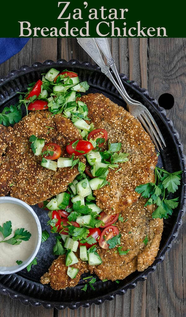 Za'atar Breaded Chicken Recipe   The Mediterranean Dish. Best breaded chicken you'll ever have! Chicken cutlets are prepared to tender perfection and given a golden, perfectly crispy breading with za'atar and toasted sesame seed. See our suggestions for sides and salads. Recipe from TheMediterraneanDish.com #chickenrecipes #breadedchicken #chickendinner #mediterraneanfood #30minutemeal #chicken