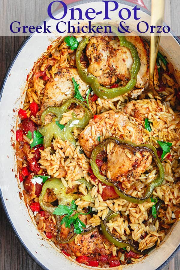 Greek Baked Chicken Orzo Recipe | The Mediterranean Dish. This one-pot baked chicken and orzo is a satisfying and flavor-packed meal. Seasoned boneless chicken baked with orzo, onions, bell peppers, and tomato. Plus all the Greek flavors we love. From themediterraneandish.com #greekfood #mediterraneanfood #mediterraneandiet #chickendinner #chickenrecipe #healthyrecipe #onepotdinner #easydinner