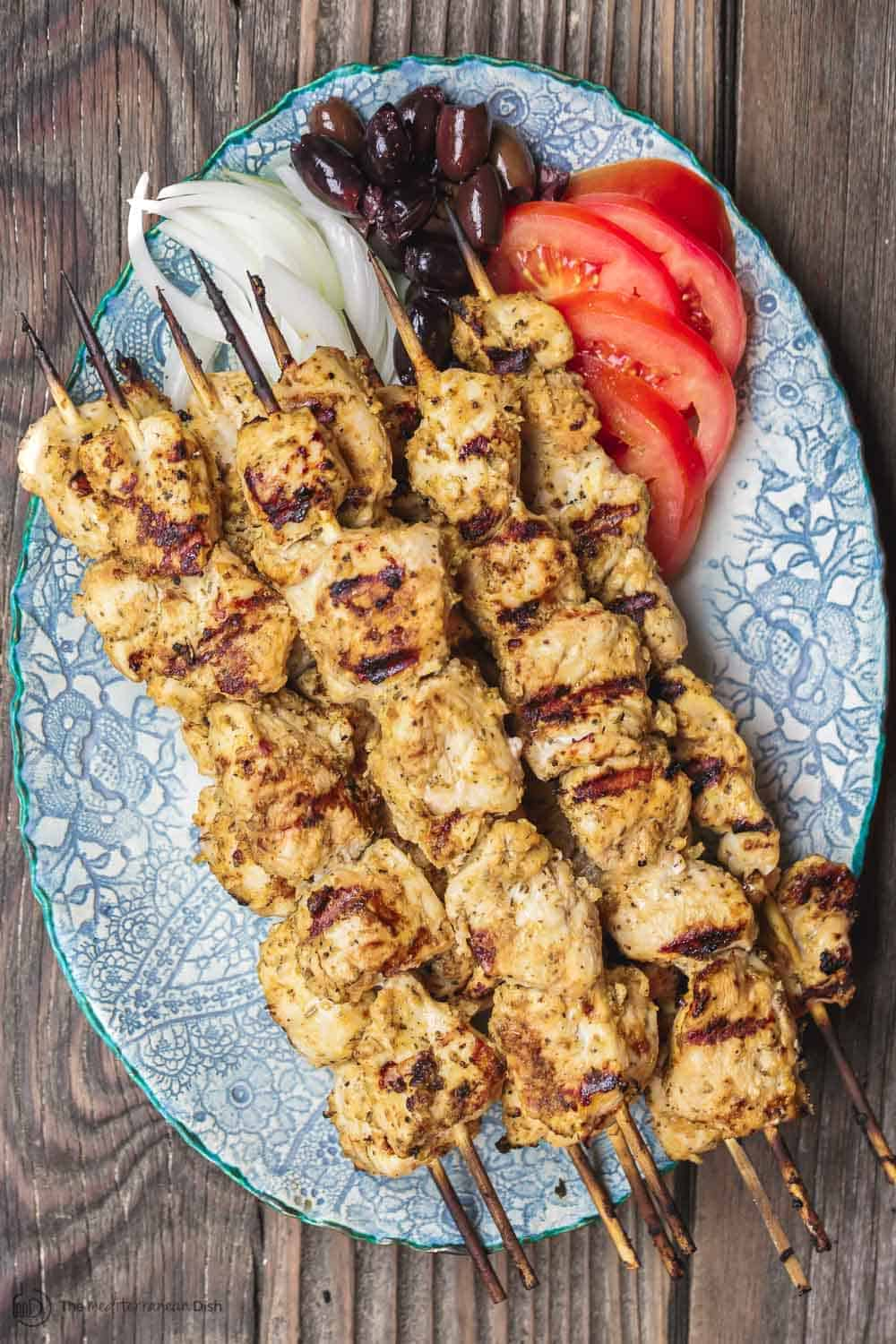 Greek Chicken Souvlaki Recipe With Tzatziki The Mediterranean Dish