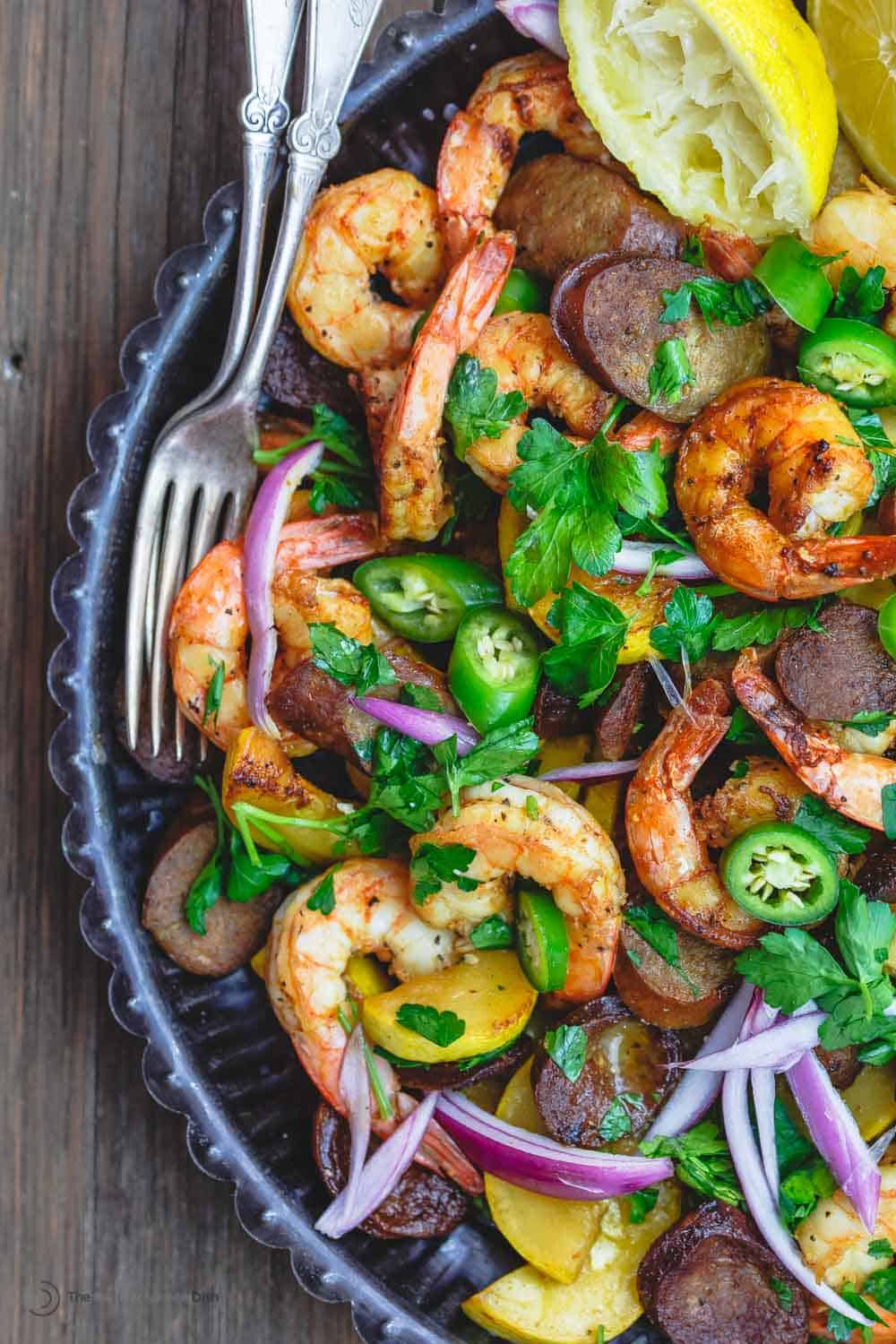 Shrimp and Chorizo garnished with fresh parsley