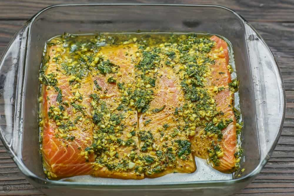 Salmon fillets topped with marinade