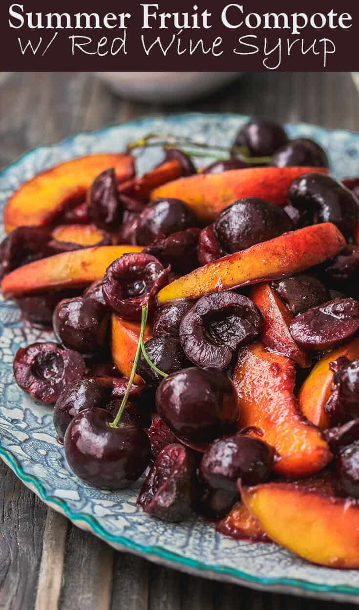 All-star fruit compote recipe | The Mediterranean Dish. Wine-poached peaches and cherries with a dollop of honeyed Greek yogurt. Serve it as part of brunch buffet or a light dessert.