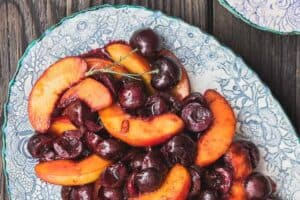 All-star fruit compote recipe   The Mediterranean Dish. Wine-poached peaches and cherries with a dollop of honeyed Greek yogurt. Serve it as part of brunch buffet or a light dessert.