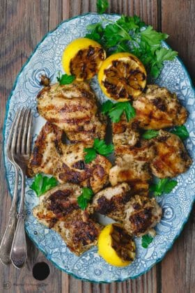 Easy Mediterranean Lemon Chicken Recipe | The Mediterranean Dish. Boneless chicken takes on a great Mediterranean spice mixture and a citrus-garlic marinade. Quickly cooked in a skillet, this lemon chicken makes the perfect weeknight dinner. Recipe from themediterraneandish.com