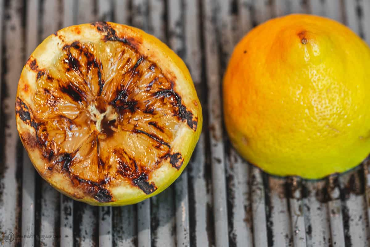 Grilled lemon halves