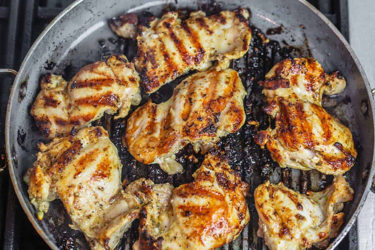 Grilled Lemon Chicken in grill pan