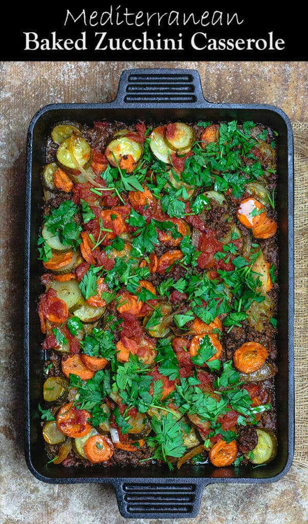 Mediterranean Style Zucchini Casserole   The Mediterranean Dish. Low carb zucchini casseroles with layers of zucchini, carrots, onions and a perfectly spiced meat sauce. Aromatics, warm Mediterranean spices, and fresh herbs make all the difference. See the full recipe on themediterraneandish.com #mediterraneandiet #zucchini #casserole #lowcarb #keto