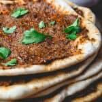 Turkish Lahmacun (Lahmajoun). Turkish flatbread with meat topping.