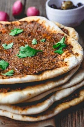 Turkish Lahmacun (Lahmajoun). Turkish flatbread with meat topping.