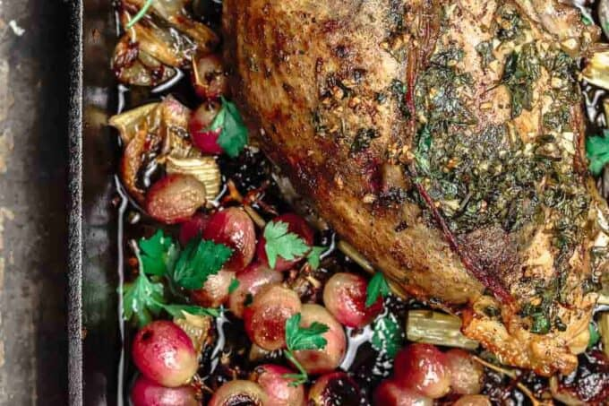Garlic Herb Roast Turkey Breast with Roasted Grapes, Celery and Shallots