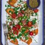 Sweet Potato Toast with za'atar spice and Mediterranean toppings