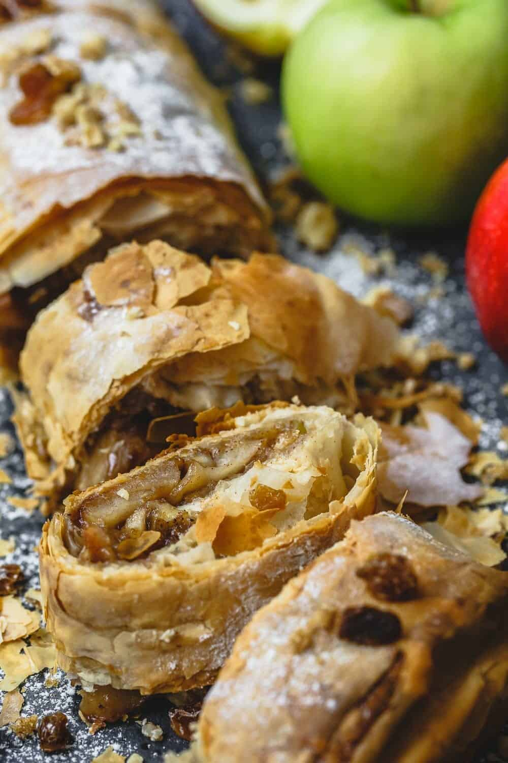 Apple Strudel with Phyllo Dough. Can be sliced to serve 10 people