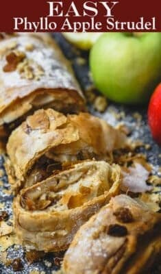 Easy Apple Strudel Recipe with Phyllo Dough | The Mediterranean Dish. Homemade apple filling rolled in phyllo dough makes a tasty, light, and extra crispy apple strudel. See the recipe on themediterraneandish.com #apple #appledessert #applesturdel #phyllorecipe #phyllodessert #applepie