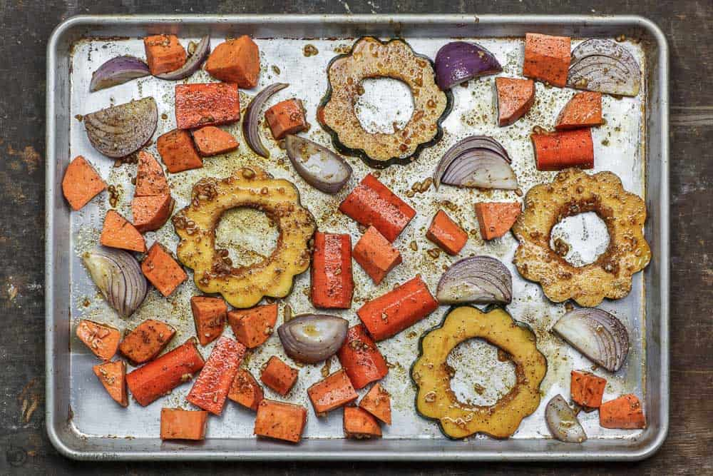 Baked Root Vegetables and Acorn Squash