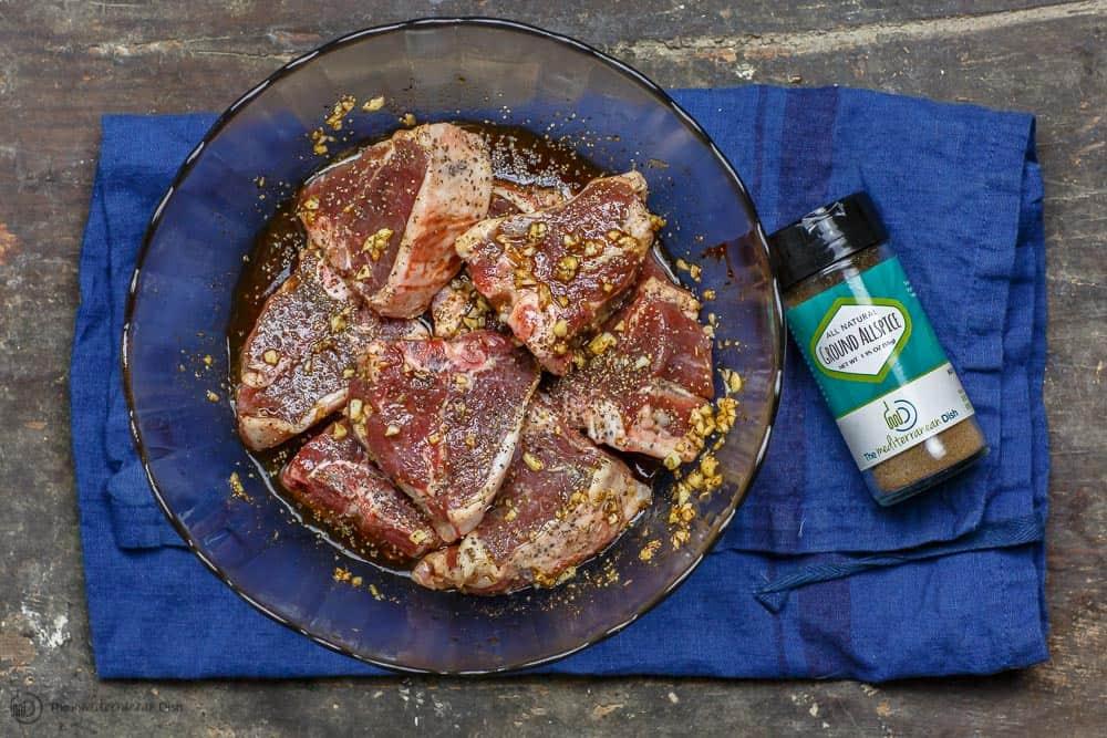 Uncooked Lamb Chops Marinating
