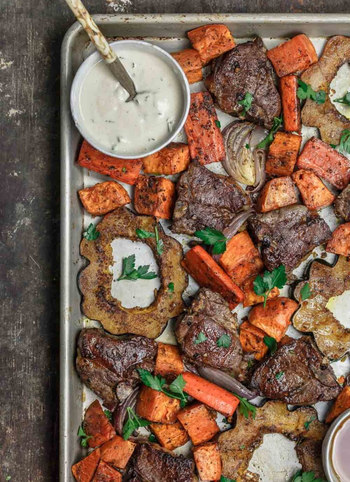 Baked Lamb Chops with Root Vegetables and Acorn Squash and Tahini Sauce