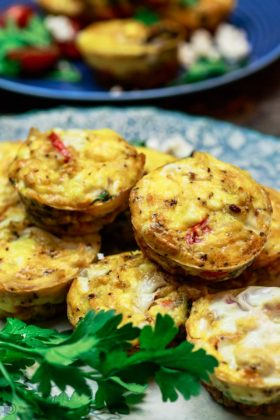 Close up side shot Mediterranean egg muffins