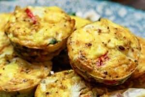 Close up side shot Mediterranean egg muffins