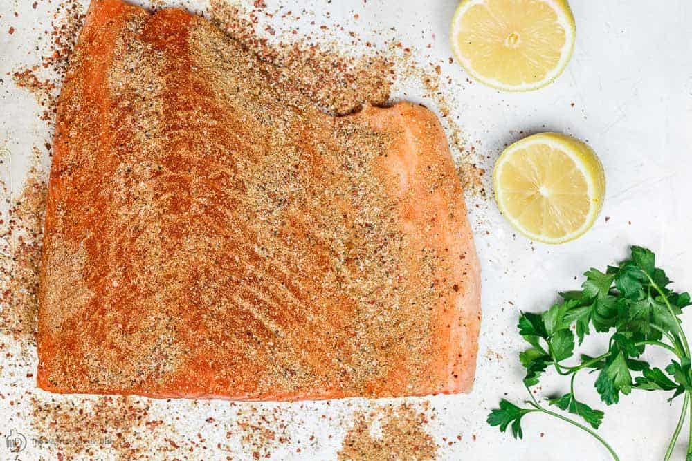 Seasoned Center Cut Salmon before cooking