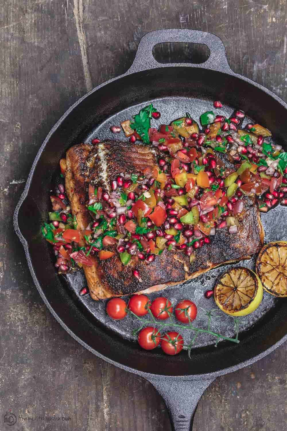 Mediterranean Blackened Salmon with Pomegranate Salsa and Grilled Lemon Halves