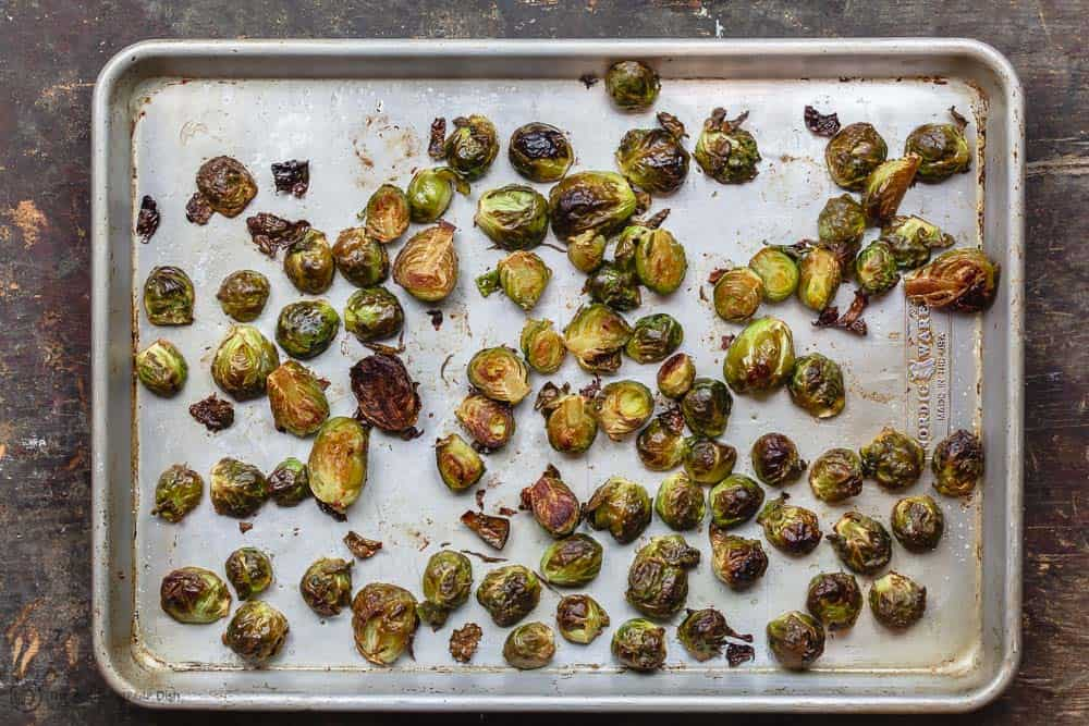 Roasted Brussel sprouts on sheet pan