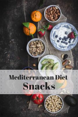 Mediterranean Diet Snacks ideas including, nuts, dried fruit, fresh fruit, avocados, tomatoes, Greek yogurt