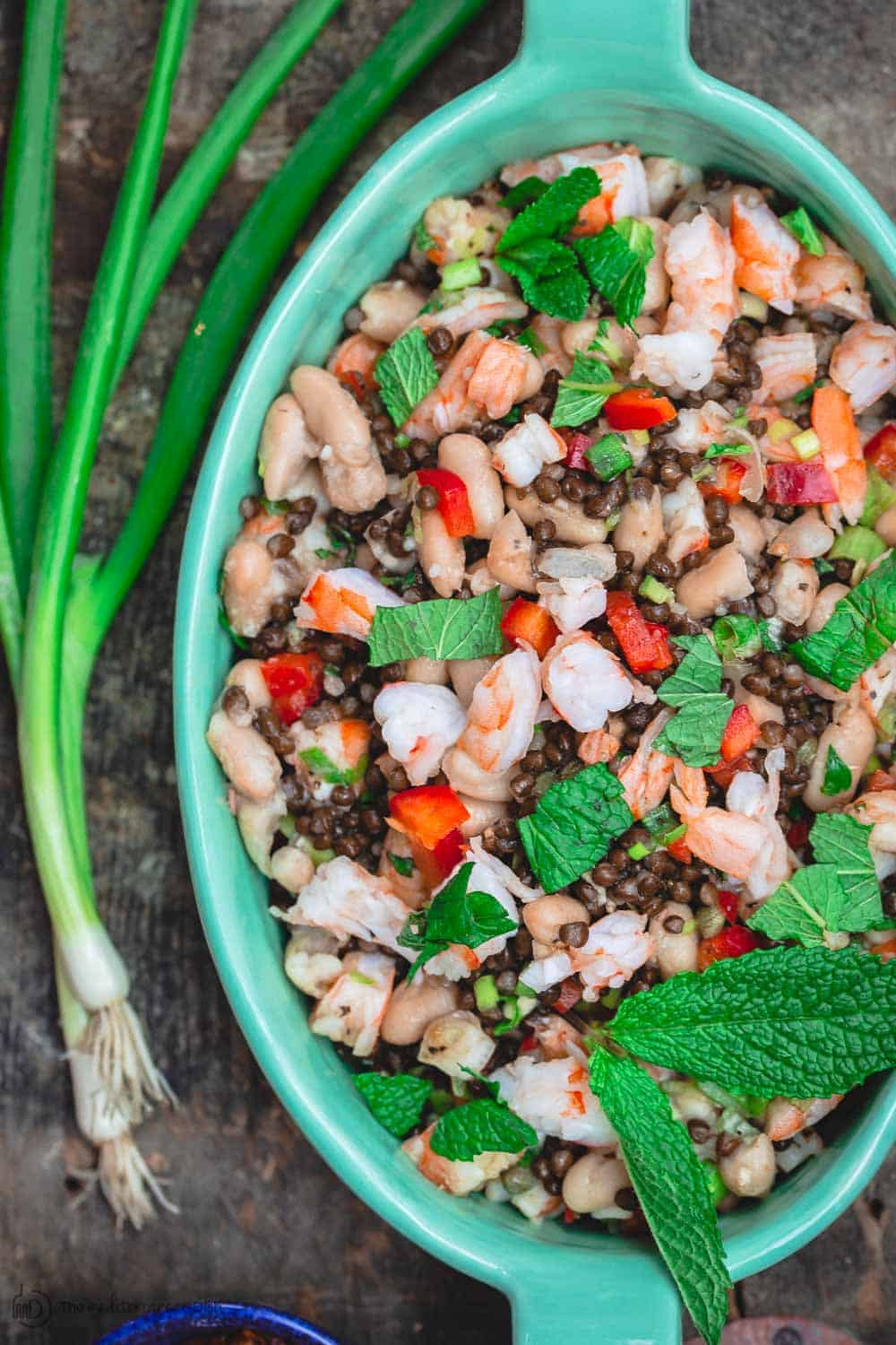 Tuscan White Bean Salad with shrimp, lentils, crunchy vegetables and fresh herbs. A garnish of scallions and fresh mint