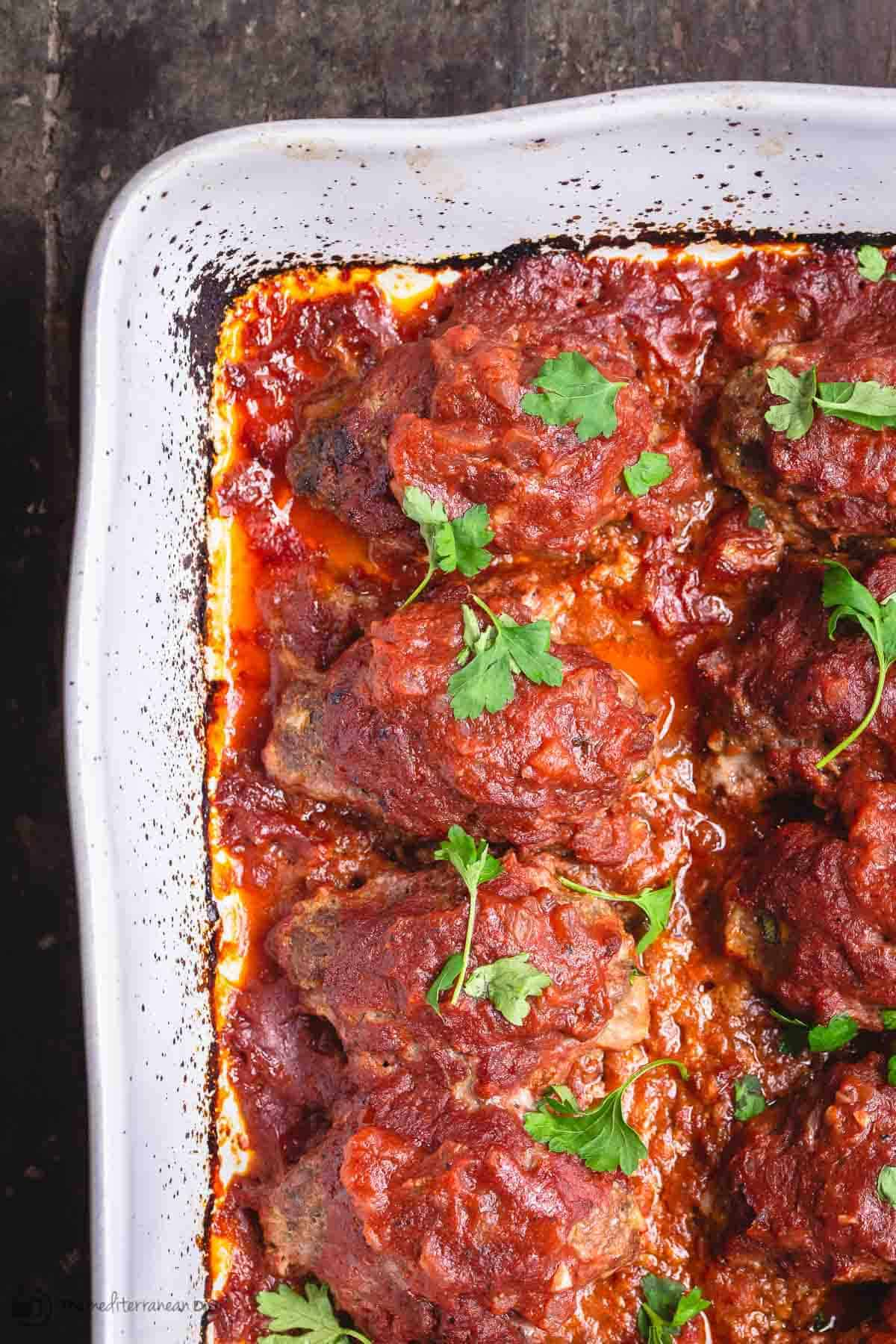 Greek Baked Meatballs in Red Sauce