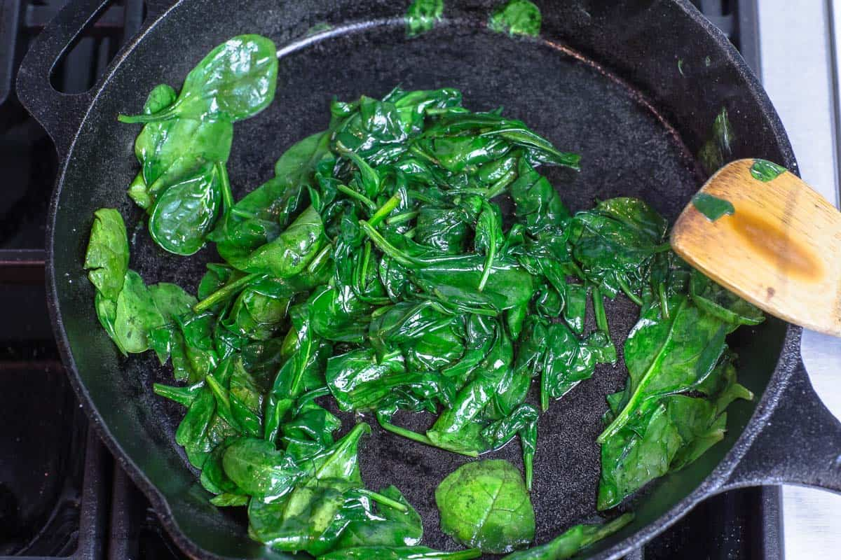 Spinach Cooked in Skillet
