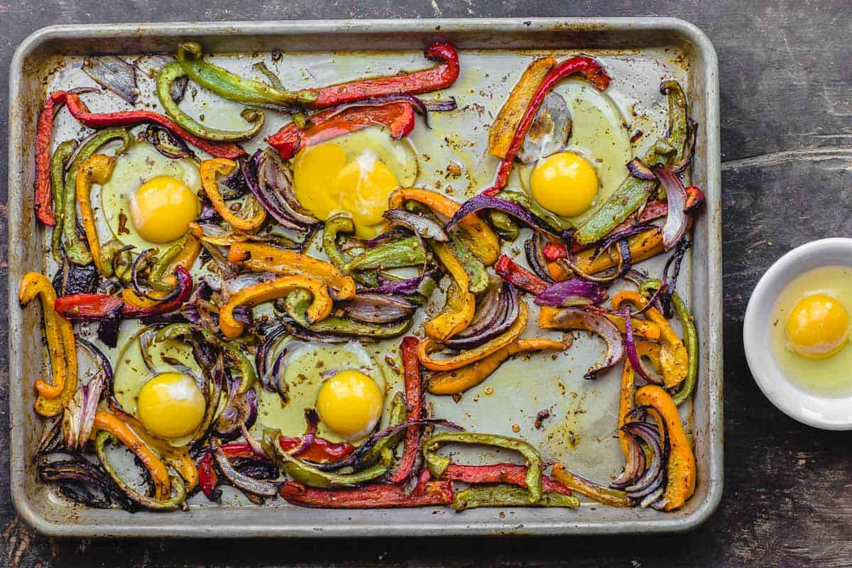 Eggs are added in with the roasted vegetables