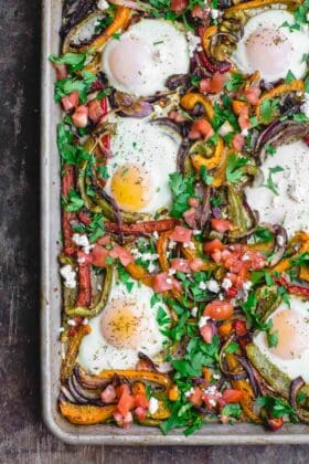 Mediterranean Sheet Pan Baked Eggs and Vegetables