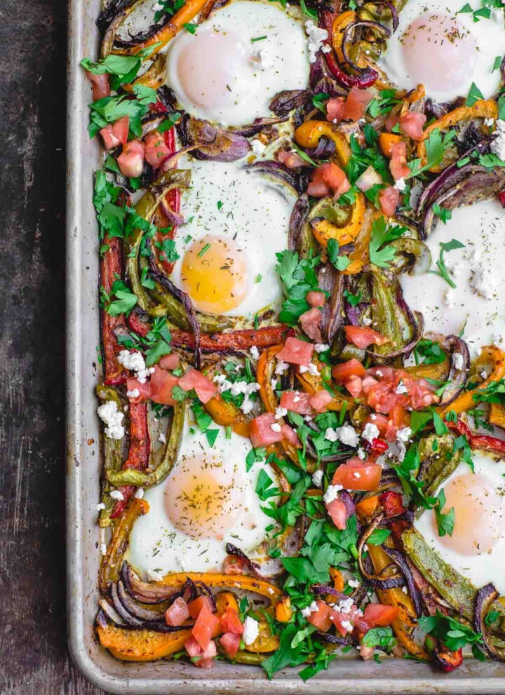Mediterranean Sheet Pan Baked Eggs and Vegetables
