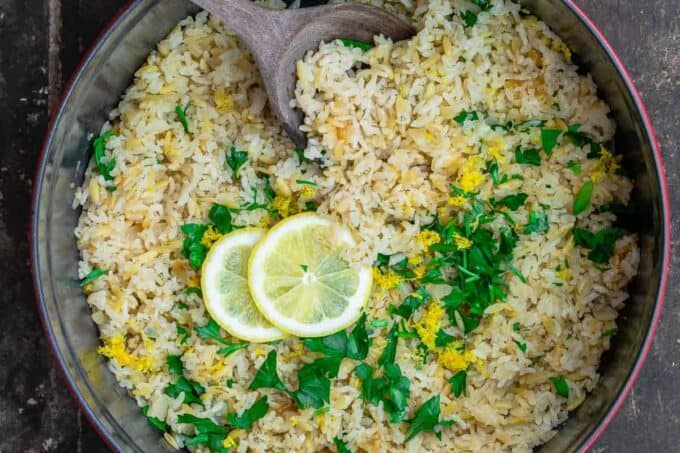 Greek lemon rice pilaf with parsley and dill