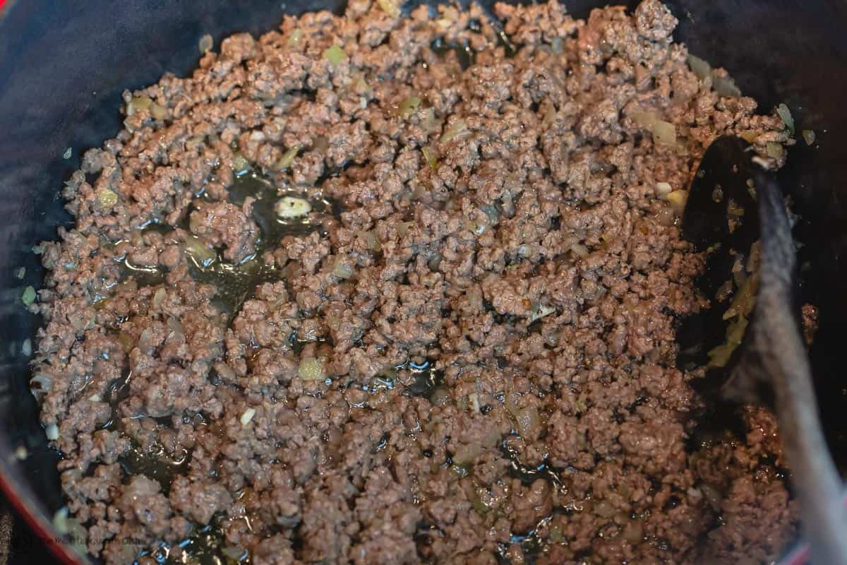 Ground beef, sauteed with onions and garlic