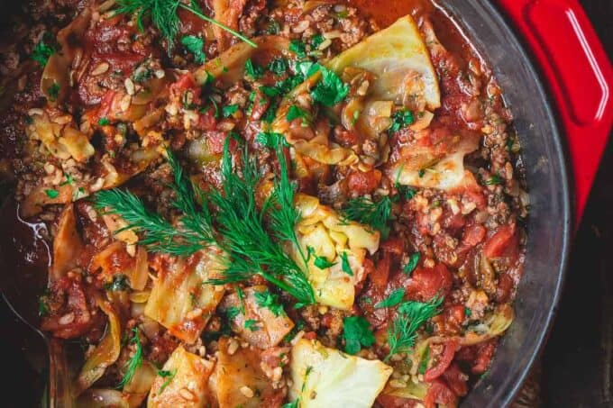 One Pot Unstuffed Cabbage Rolls, Mediterranean-Style