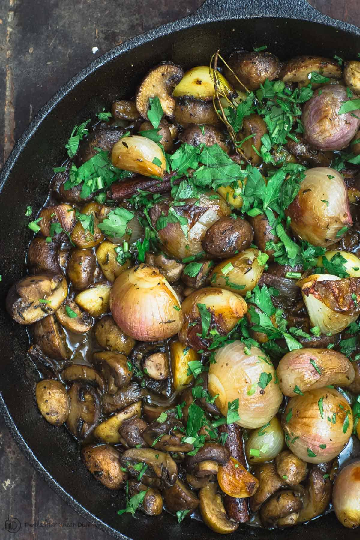 Shallot garlic mushroom recipe in skillet