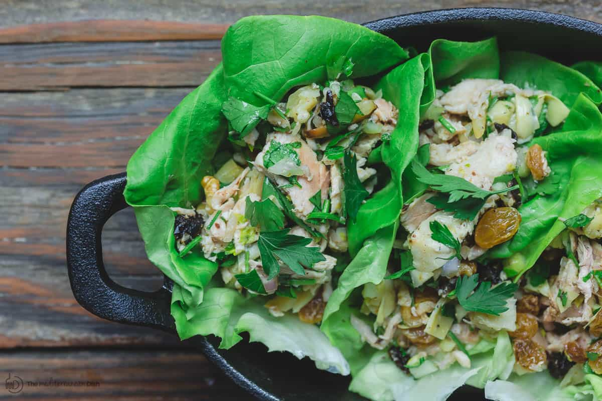 Lettuce wraps with healthy chicken salad