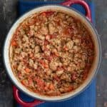Rich, Thick Turkey Bolognese Sauce in a Pot