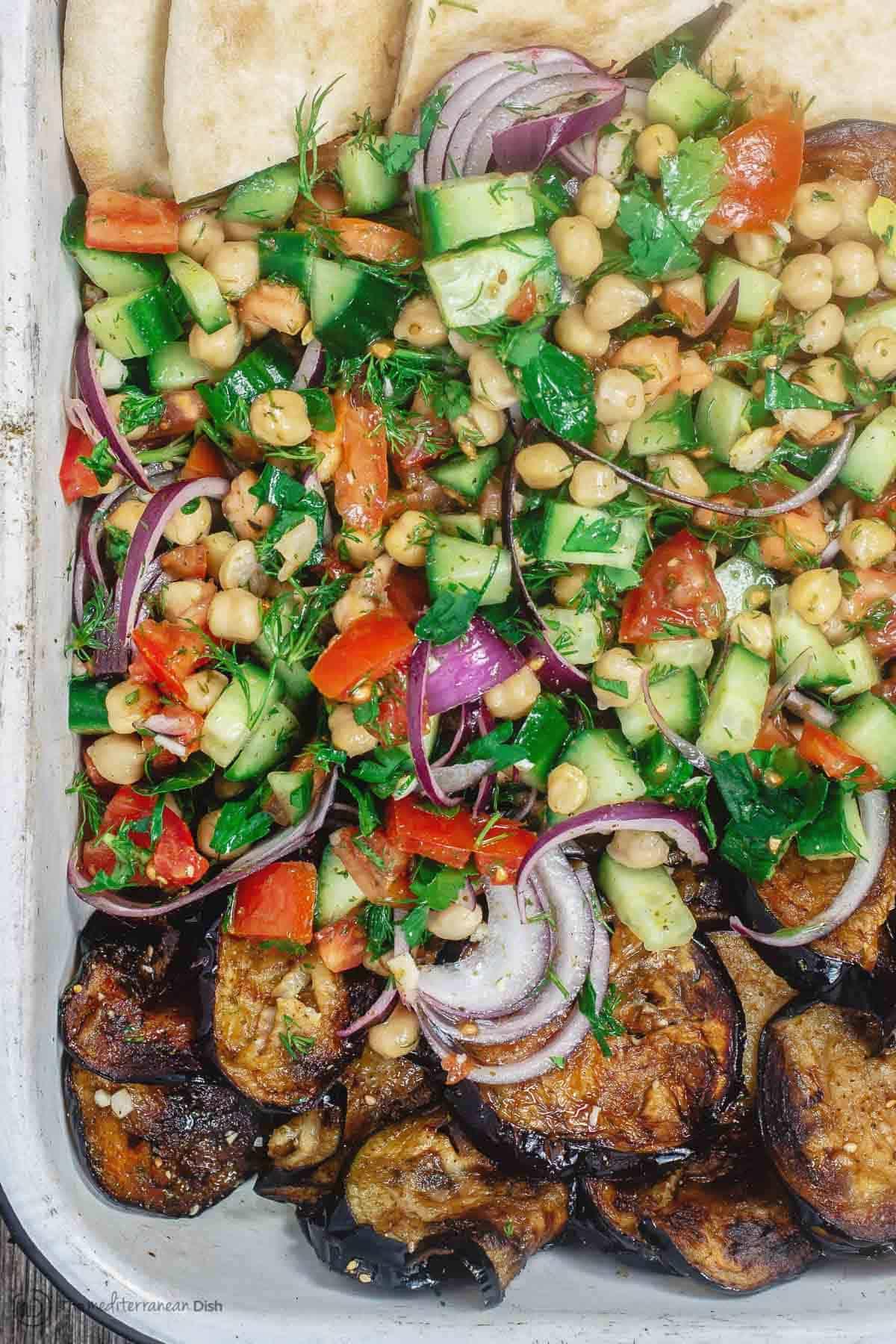 Za'atar Chickpea Salad with Fried Eggplant