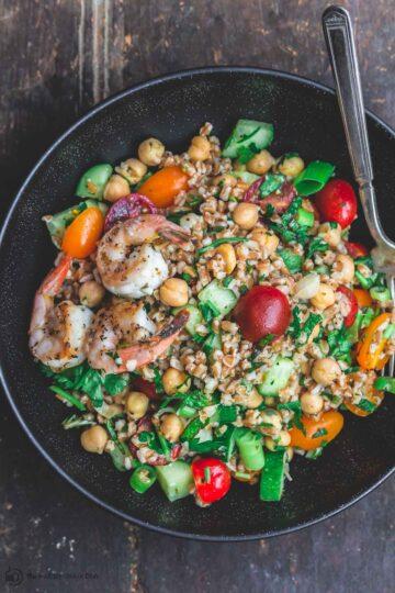 Bowl of Mediterranean Chickpea and Farro Salad