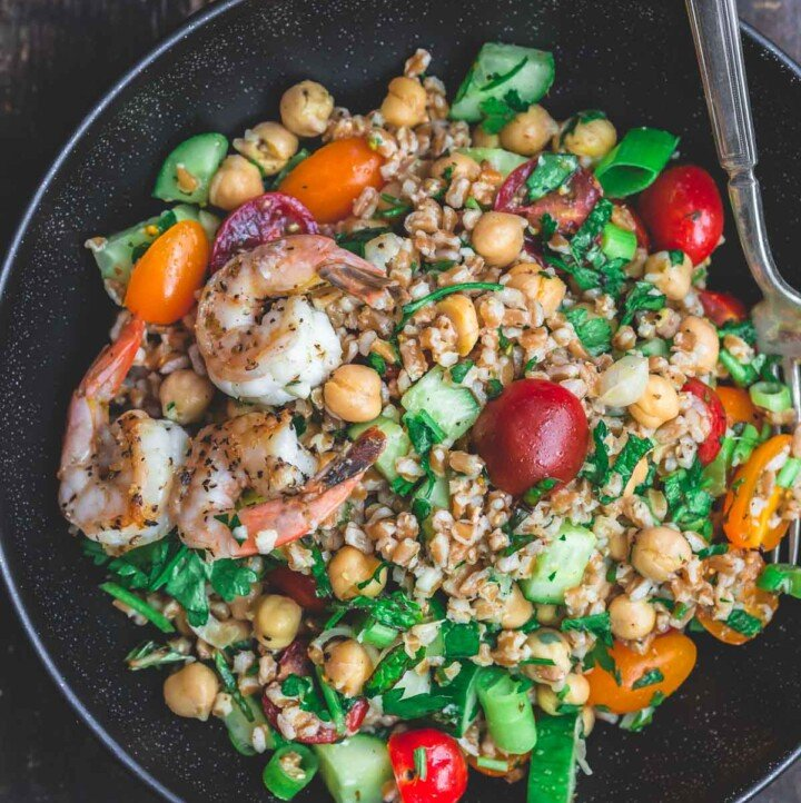 Bowl of Mediterranean Chickpea and Farro Salad