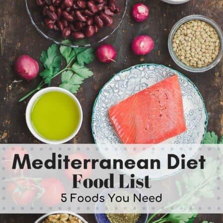 Mediterranean Diet Food List. Olive Oil, Seafood, Nuts, Legumes, Greens