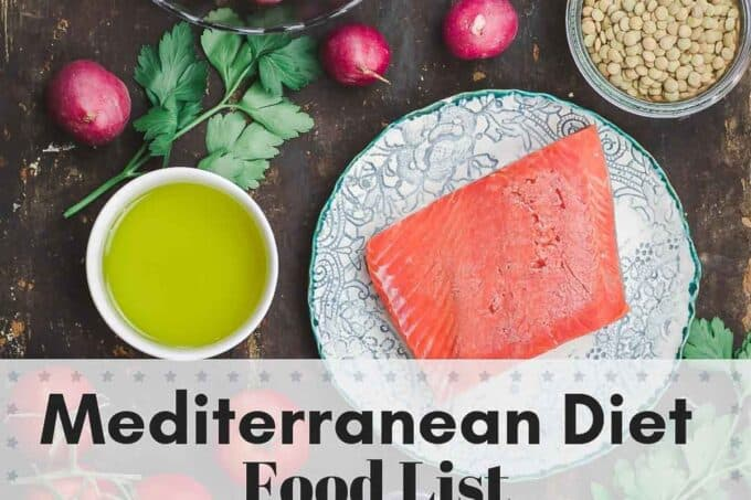 Mediterranean Diet Food List. Olive Oil, Seafood, Nuts, Legumes, Greens