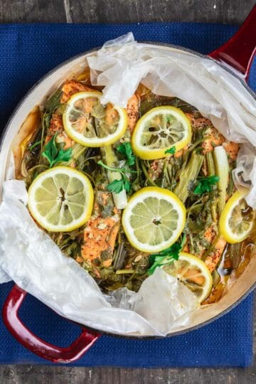 Mediterranean Steamed Salmon with Garlic, Lemon, and Fresh Herbs