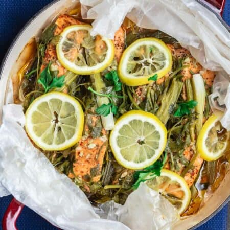 Mediterranean Steamed Salmon with Garlic, Lemon, and Fresh Herbs