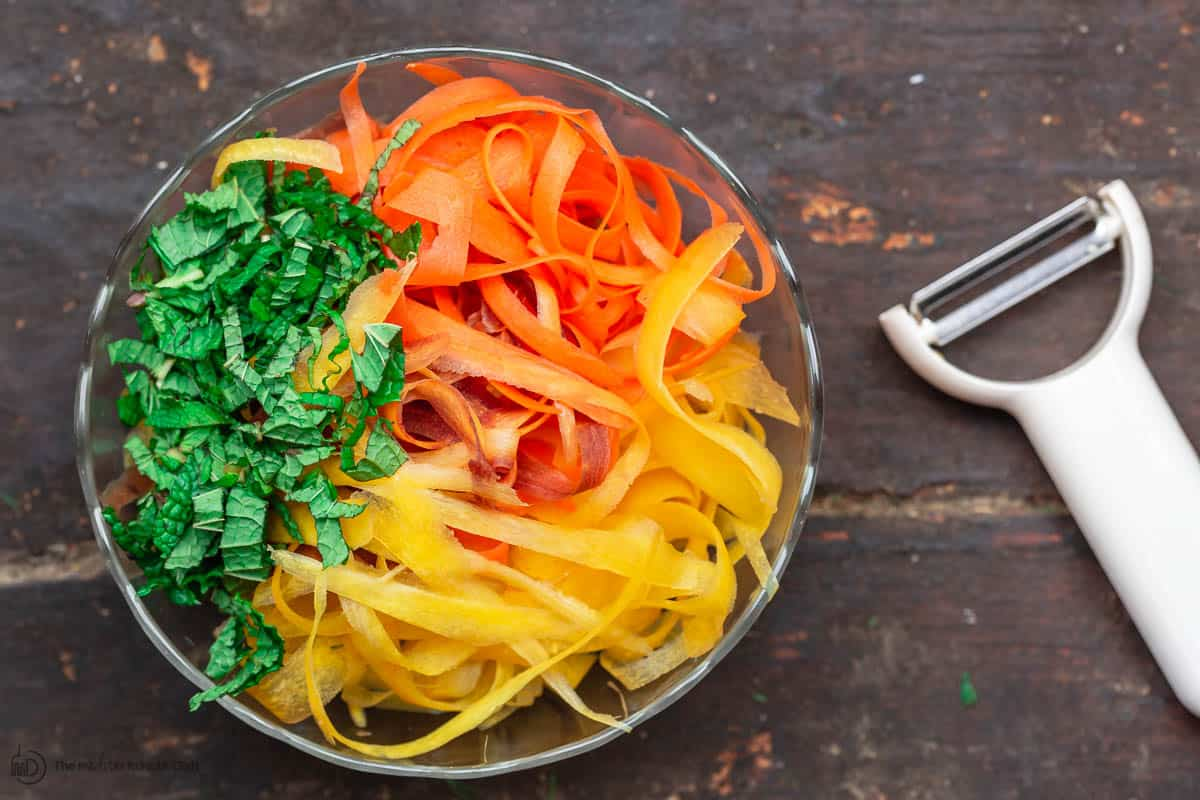 Shaved Carrot Salad to Serve with Morrocan Meatballs