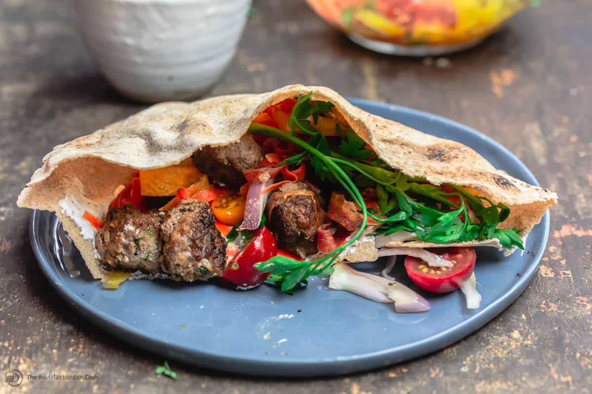 Loaded pita pocket with Moroccan Meatballs