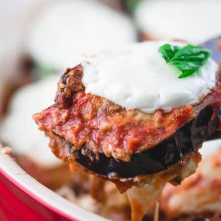 Classic Eggplant Parmesan Slice Served