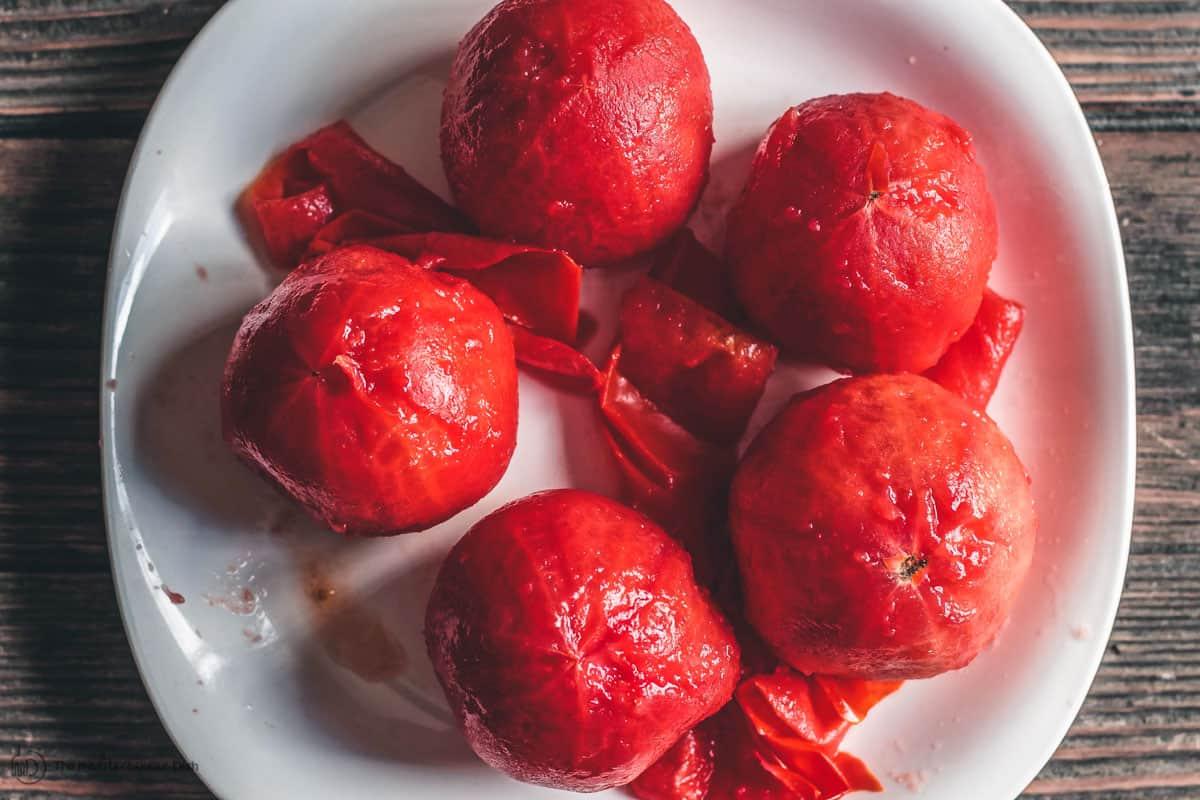 Peeled ripe tomatoes for gazpacho
